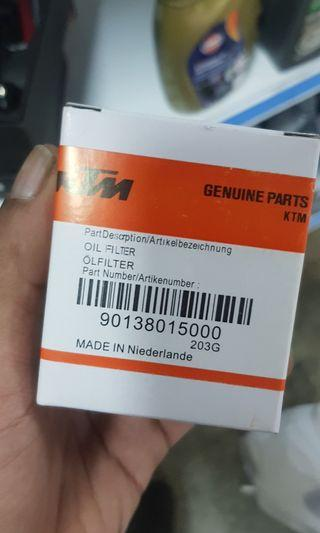 Instock motorcycle KTM oil filter servicing