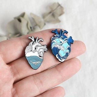 bnip ocean wave heart enamel pin badge