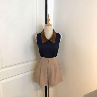 Glitter Collar Sleeveless Top (Navy Blue)