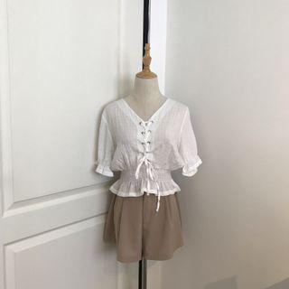 Front Lace Up Wide Neck White Blouse