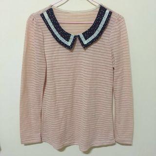 🚚 [贈]領子設計粉色氣質長袖上衣