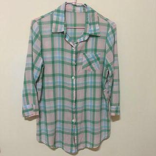 🚚 [贈]粉綠配色格紋七分袖襯衫