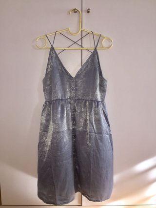 Steel blue babydoll dress