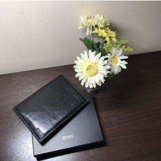 #Fathersday35. PRELOVED. Hugo Boss. Passport Holder cum Travel Wallet. Black. Genuine Leather. MINT CONDITION. IN ORIGINAL BOX. AUTHENTIC.