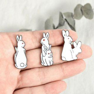 bnip cartoon white rabbit enamel pin badhe