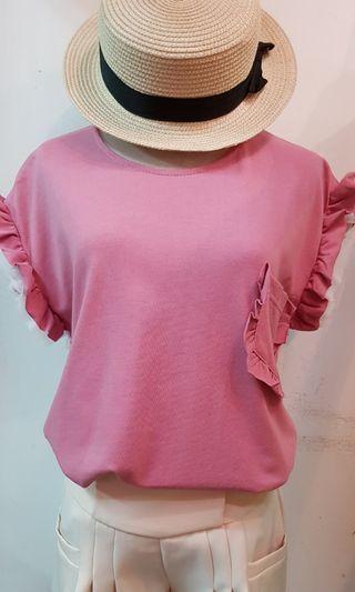 🚚 韓國造型袖棉T 粉色