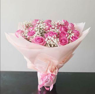 Buket bunga mawar asli 20 batang