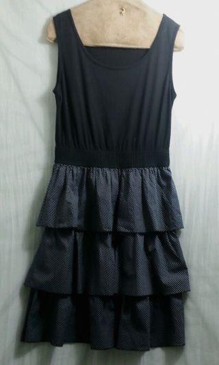 🚚 小清新黑色棉質背心拼接圓點蛋糕裙小洋裝