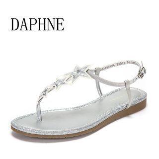 Daphne/達芙妮專櫃新夏休閒簡單平底百搭可愛星飾涼鞋全新清倉 挑戰最低價任選3件免運費