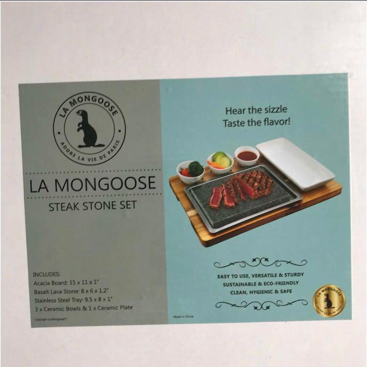 $200  La Mongoose Steak Stone Set Premium Basalt Lava Hibachi Cooking