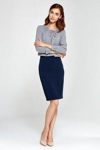 navy blue pencil skirt office wear