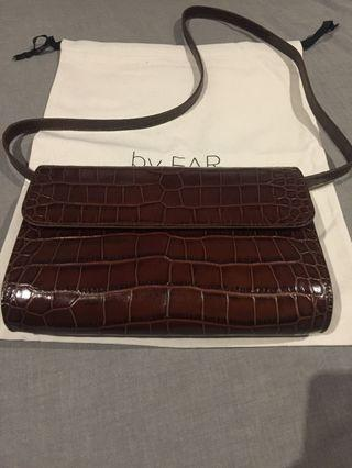 BY FAR croc print dark brown bag authentic