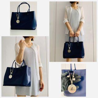 🚚 現貨/全新/實拍㊣【Agnes.b】牛皮手提包-深藍色
