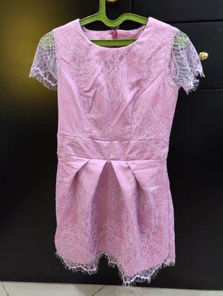 Lace renda dress gaun pink wanita