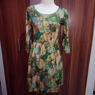 Green Flower midi Dress