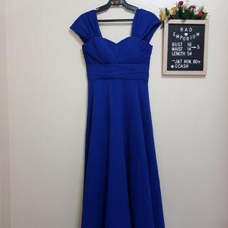 Royal blue long gown with lace at the back