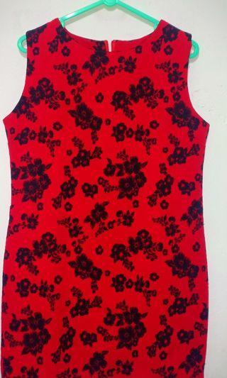 #belanjabulanan Red Flower Dress