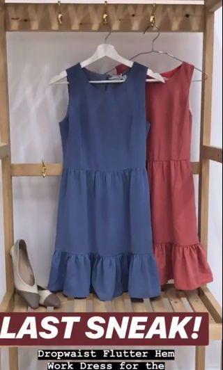 🚚 DROPWAIST FLUTTER HEM WORK DRESS IN PERIWINKLE - Tcl closet lover neonmello fayth tsw lilypirate love bonito fashmob tsw  anticlockwise Acw