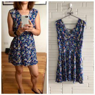 MANGO MNG Suit Blue kimono floral printed dress Size S