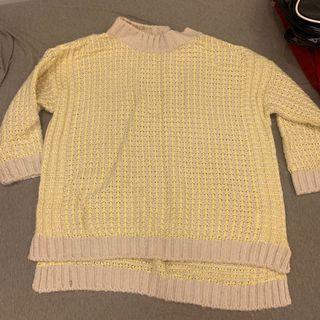 黃白格紋粗織微高領毛衣