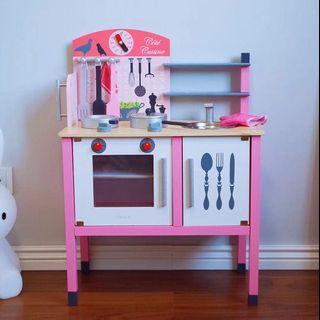 Wooden Kitchen Playset with full set wooden utensils /