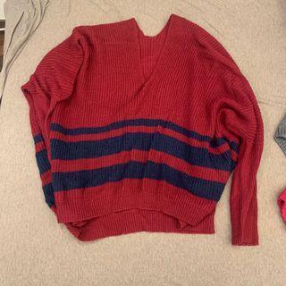 桃紅藍條紋針織毛衣