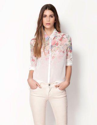 Bershka Inspired Floral Chiffon Shirt