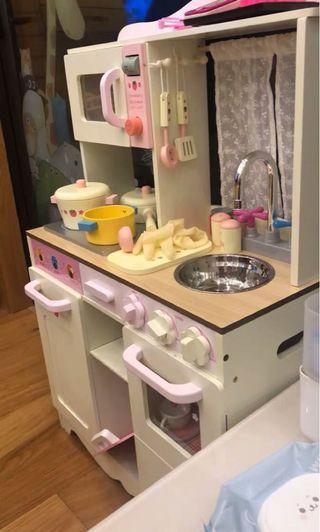 [READY STOCK] Wooden Kitchen Playset with full set wooden utensils