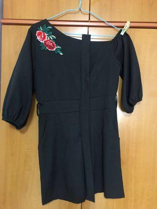 Black Romper with Flower Embroidery