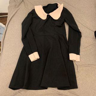 黑色粉領長袖洋裝