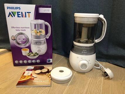 飛利浦 Philips Avent 嬰兒食物處理 離乳糊仔壓碎磨碎蒸鍋 食物攪拌機 蒸煮攪拌器 4合1食物處理器 包順豐