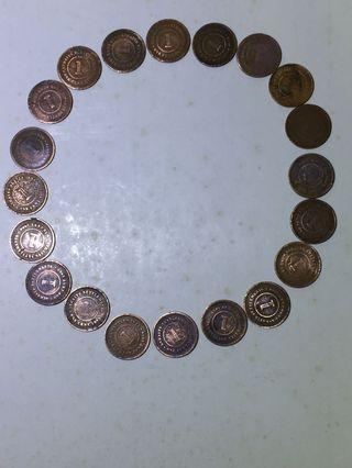 Coins. 20 pieces Q.V.  cent coins(every coin is more than 100 years)