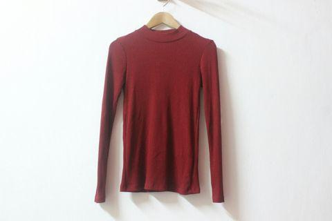 Ribbed High Neck Tshirt