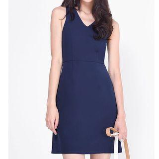 (XL) Fayth Armaria Sheath Dress in Navy