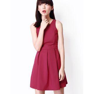 (L) AforArcade Forever Box Pleat Dress in Magenta