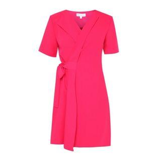 Warehouse Wrap Dress Bright Pink