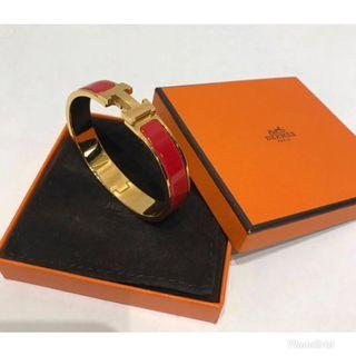 Hermes H bangle- red
