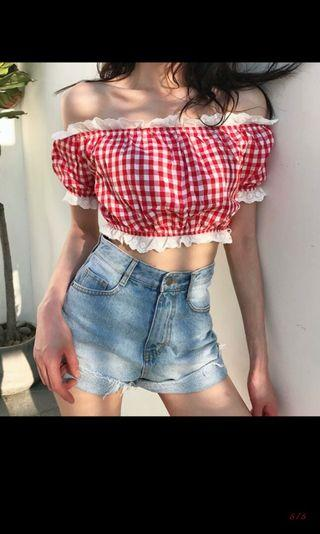 (po) Checkered Off Shoulder Top