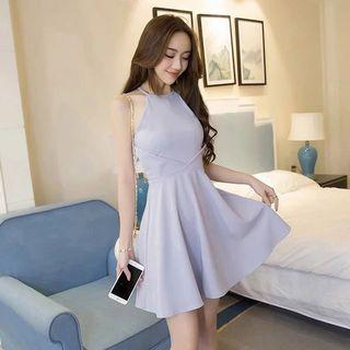 Lavender Purple Halter Skater Dress