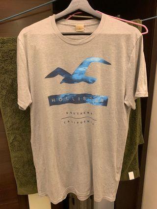 Hollister男灰短袖T恤