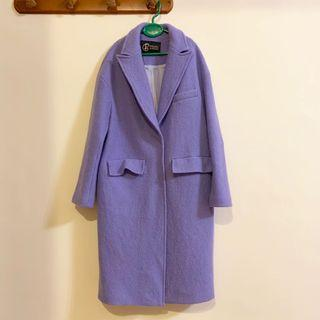 🚚 Philippe Gaston 法國品牌 全羊毛 馬卡龍色 紫 藍 長版大衣 外套 風衣