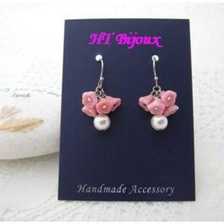 自家製手作粉紅喇叭花耳環 Handmade Pink Morning Glory Earrings