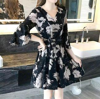 BN Black Floral Dress with Butterfly Sleeves