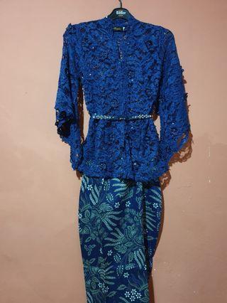 Blue brocade kebaya set