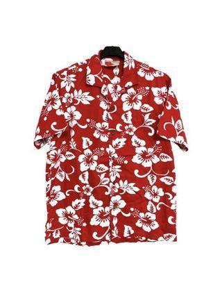 古著純棉鮮紅短袖花襯衫
