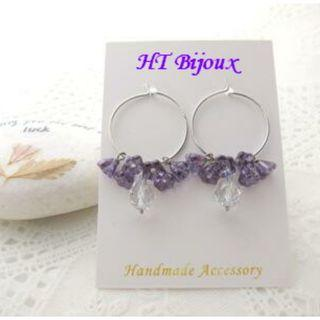 自家製手作紫色喇叭花耳環 Handmade Purple Morning Glory Earrings