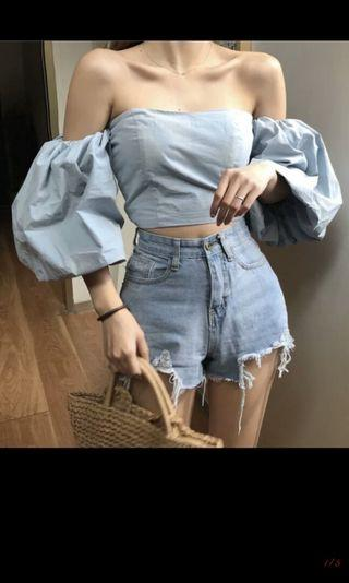 (po) Puffy Off Shoulder Top