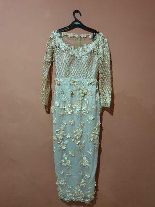 Peach long wedding dress
