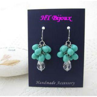 自家製手作湖水綠水滴耳環 Handmade Turquoise Colour Drop Earrings