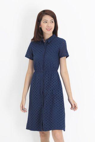 BNWT AForArcade Lizzie Eyelet Shirt Dress in Navy (AFA)